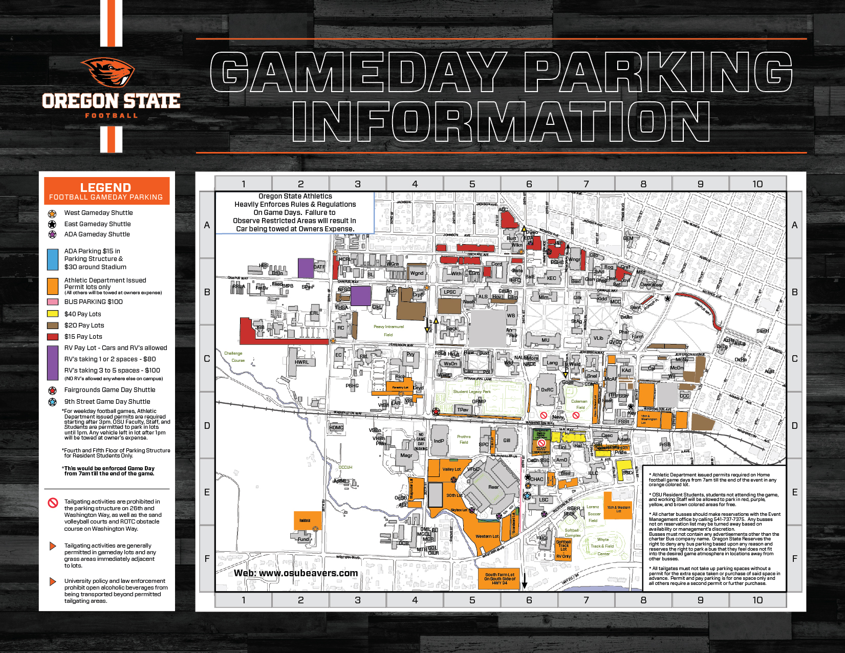 Osu Parking Map Football Gameday Information   Oregon State University Athletics